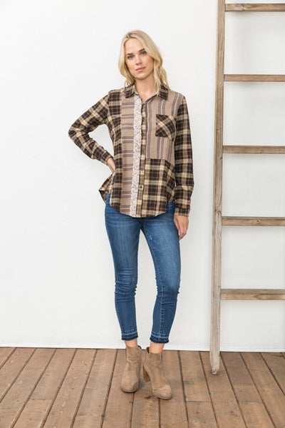 Mixed Plaid Shirt Taupe / Brown