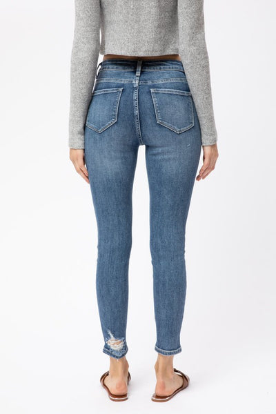 Kristen High Rise Distressed Ankle Skinny Jeans