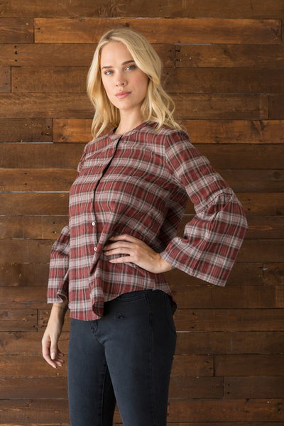 Mixed Plaid Shirt with Bell Sleeves