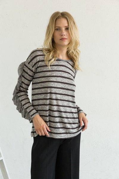 Laura Ruffle Trim Long Sleeve Top