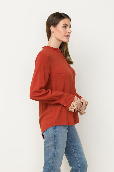 Tessa Embroidered Sleeve Top