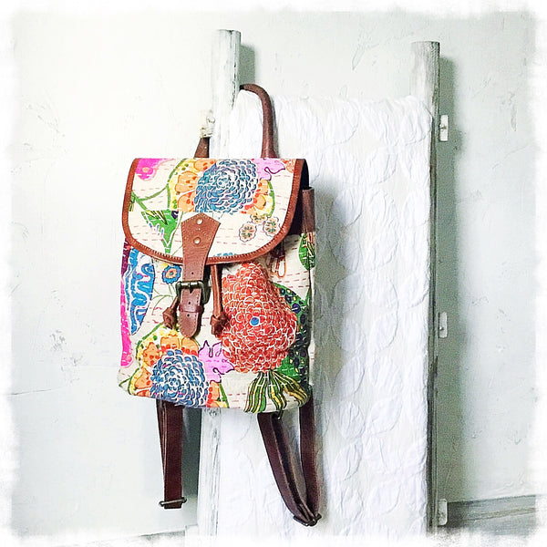 Thalia Kantha Quilted Mini Backpack - Soul Of The Rose®
