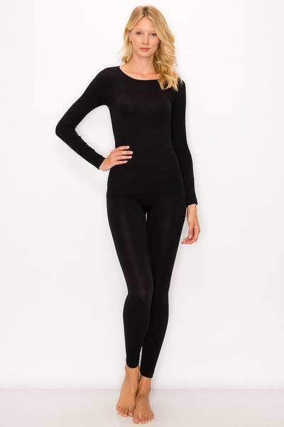 Ribbed Long Sleeve Top and Leggings Lounge Set