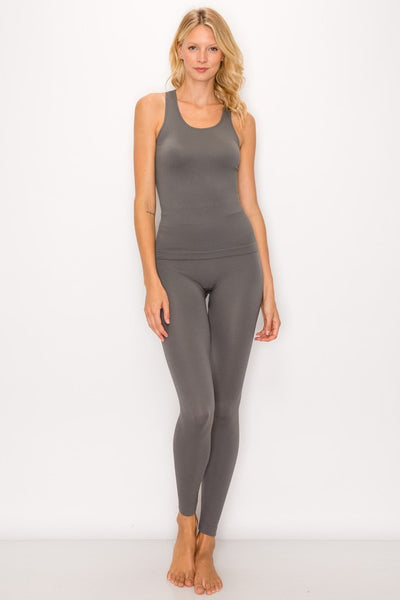 Ribbed Seamless Tank Top and Leggings Lounge Set