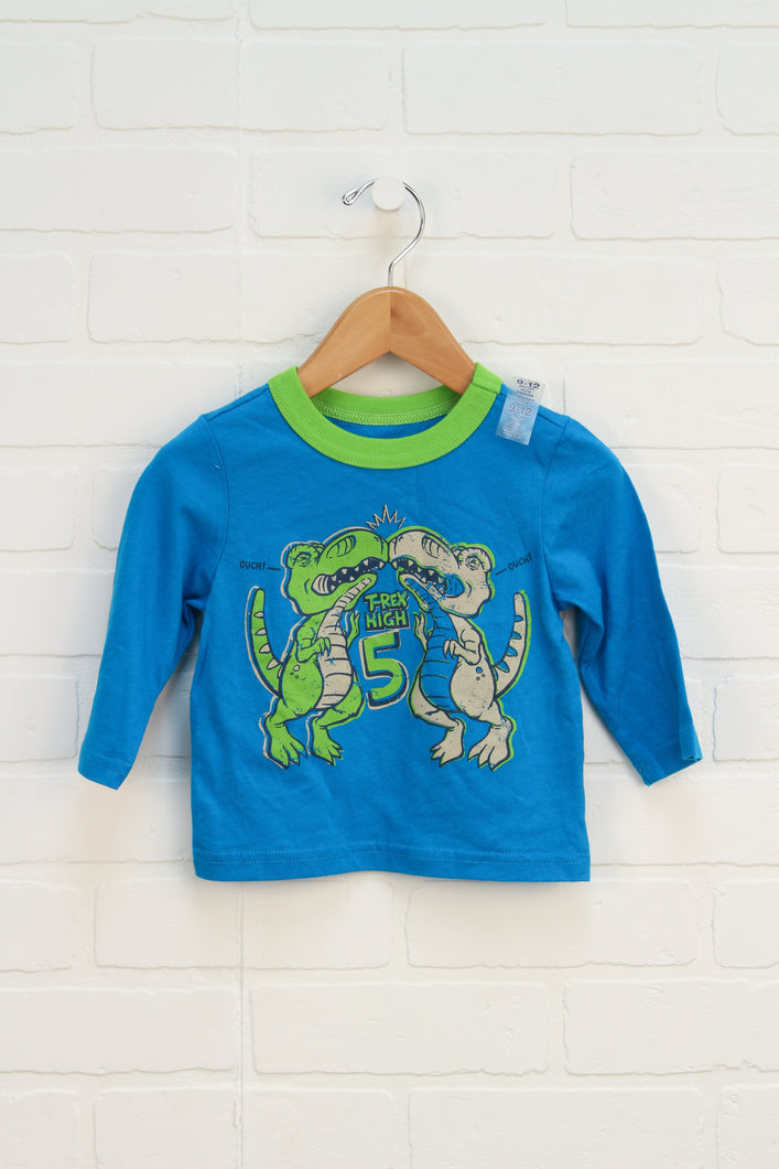NWT Blue + Lime Graphic T-Shirt: T-Rex (Size 9-12M)