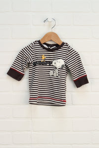 Brown + White Graphic Top: Snoopy (Size 68/4-6M)