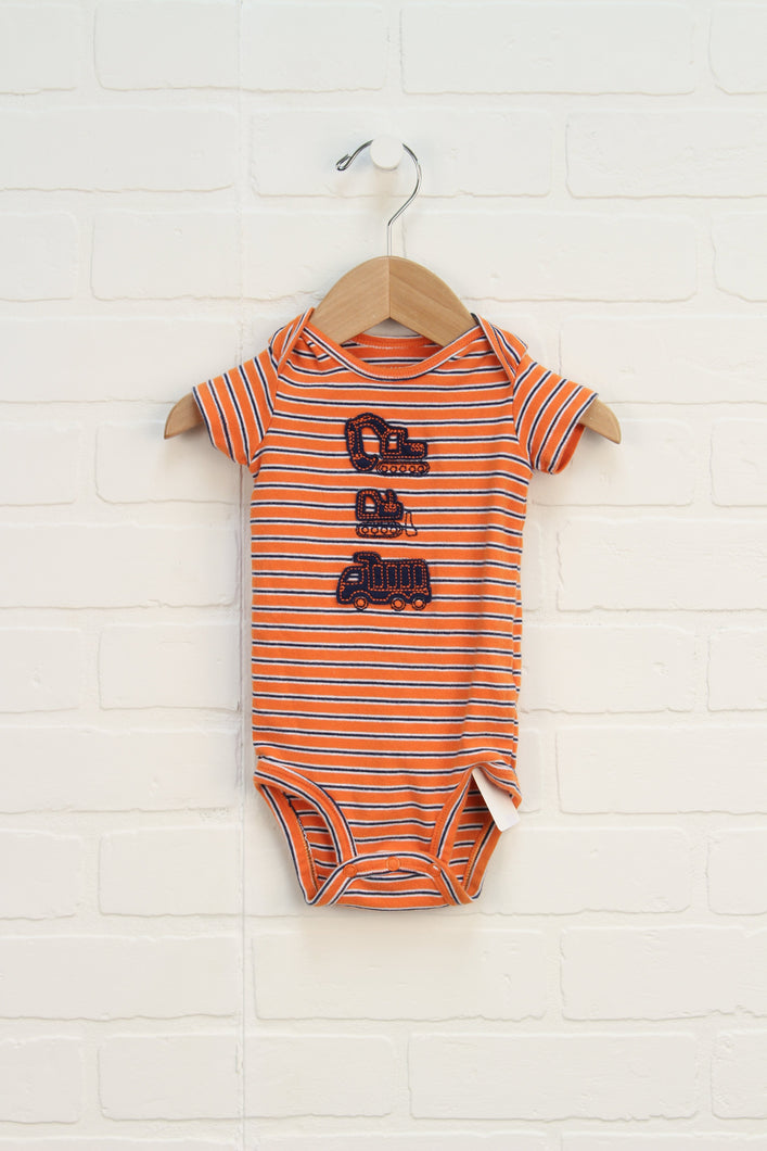 Organic Orange + Navy Onesie (Size 6M)
