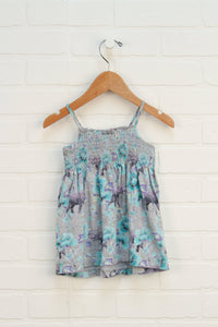 Heathered Grey + Turquoise Smocked Dress (Size 12-18M)