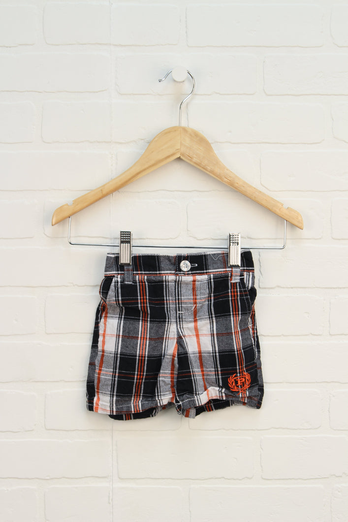 Black + Orange Plaid Shorts (Size 12M)