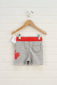 NWT French Terry Heathered Grey + Red Shorts (Size 6M)