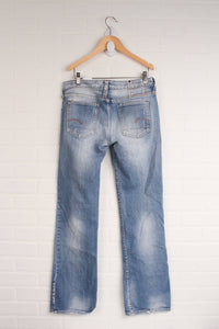 Distressed Wash Bootcut Jeans (Men's Size 29x30/XS)