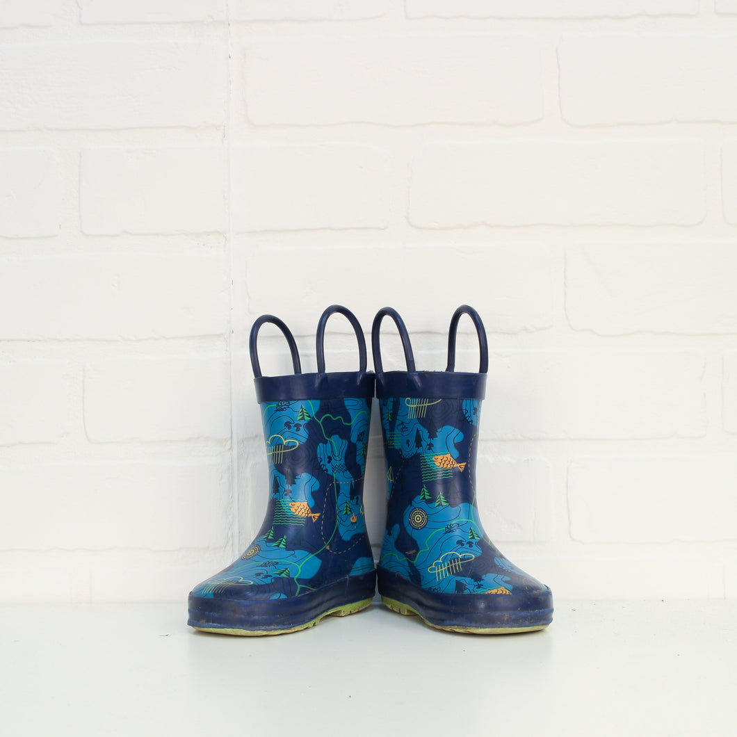 Navy Graphic Rubber Boots: Camping (Little Kids Shoe Size 6)