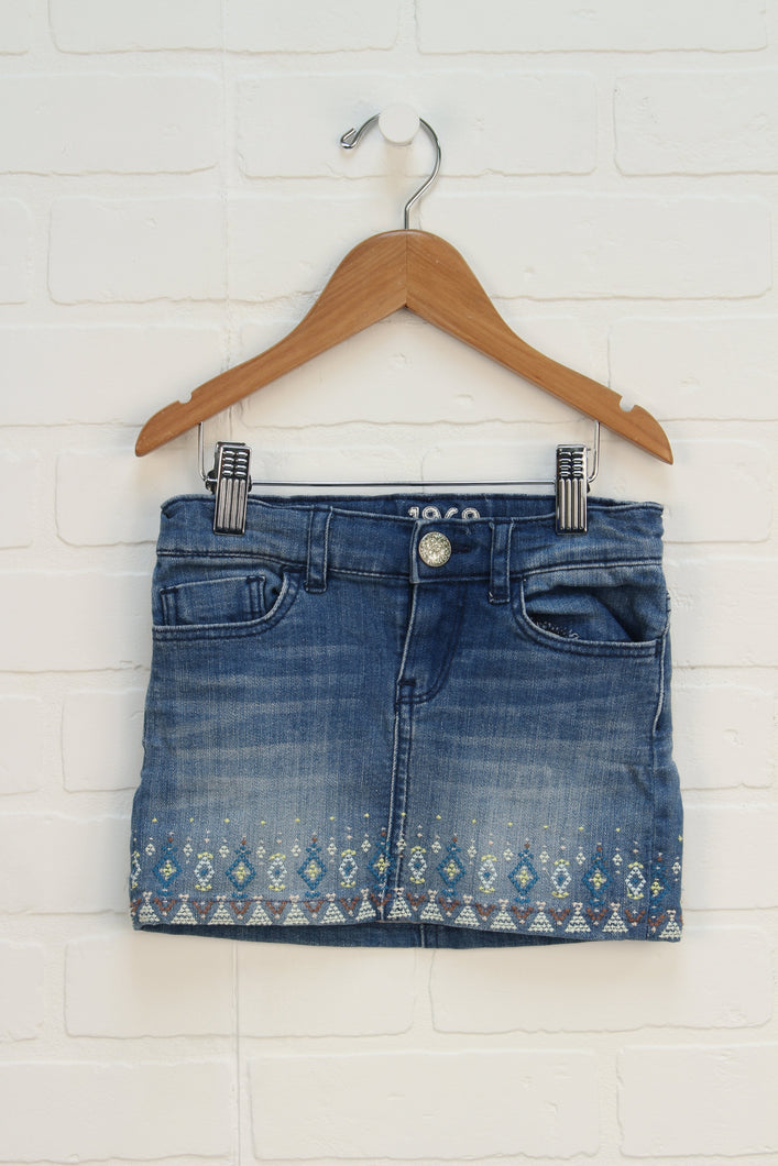 Embroidered Denim Mini Skirt (Size 5)
