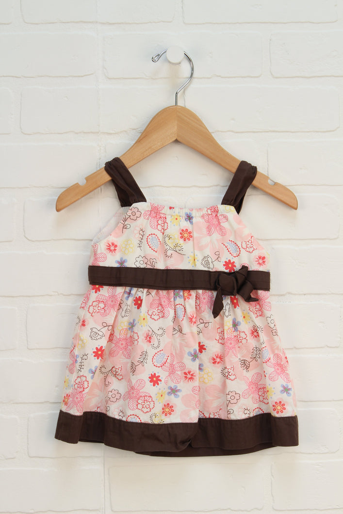 Brown + Pink Sundress (Size 3-6M)