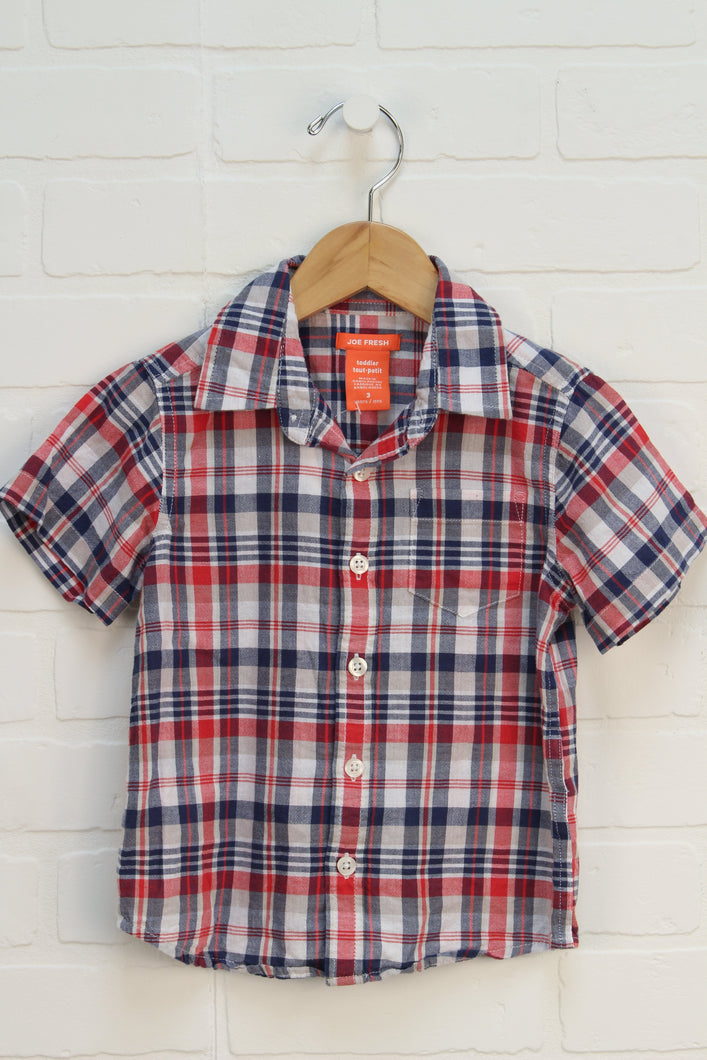 Red + Navy Plaid Button Up (Size 3)