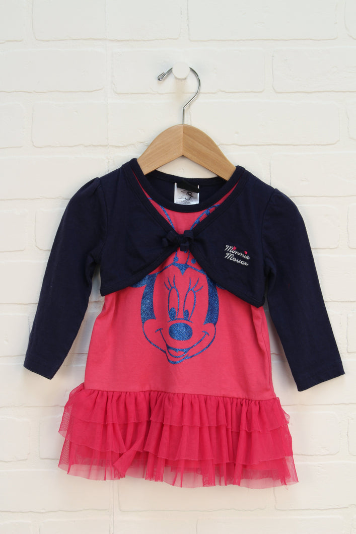 Hot Pink + Navy Graphic Dress: Mini Mouse (Size 18M)