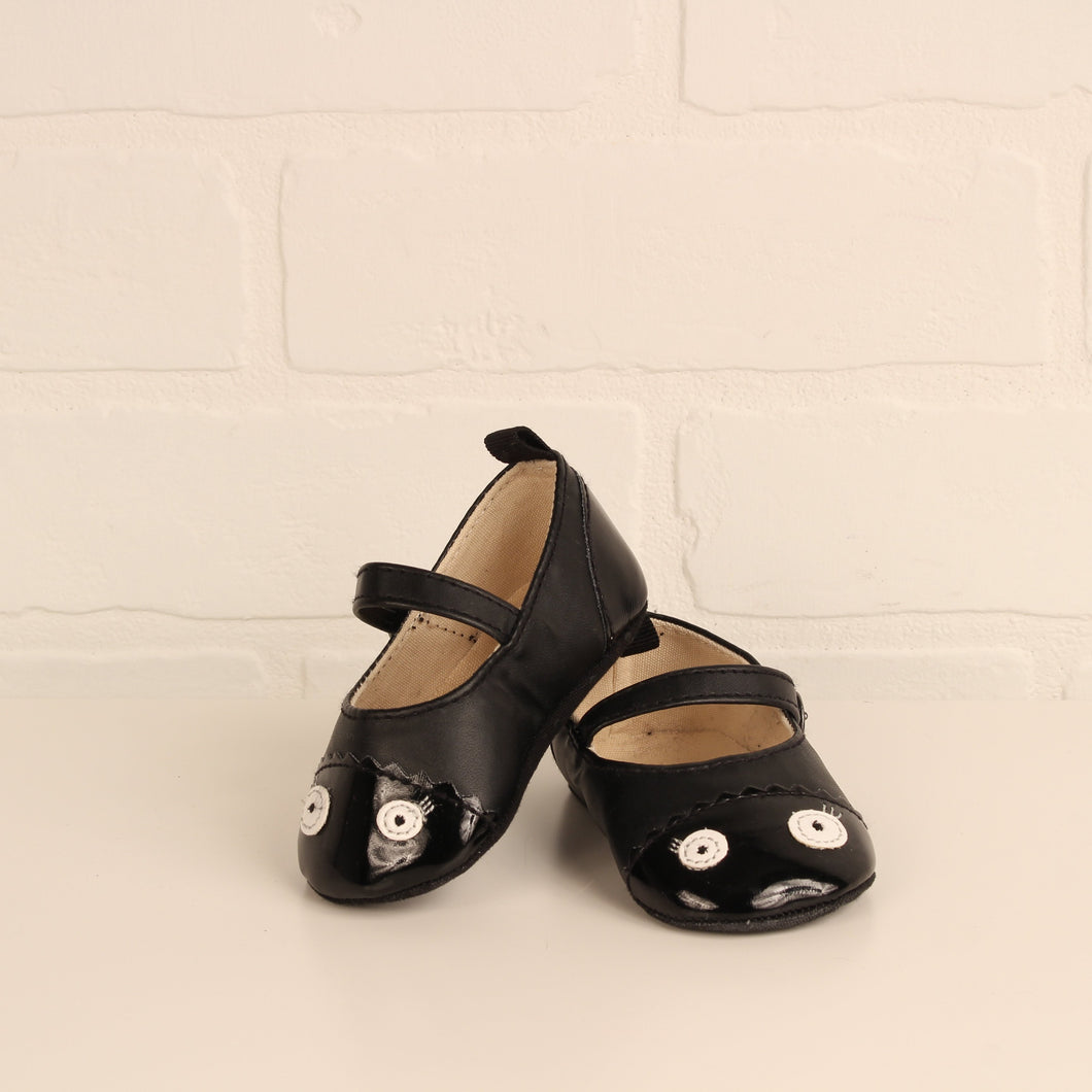 Black Soft Mary Janes (Size 6-12M/Little Kids Shoe Size 4)