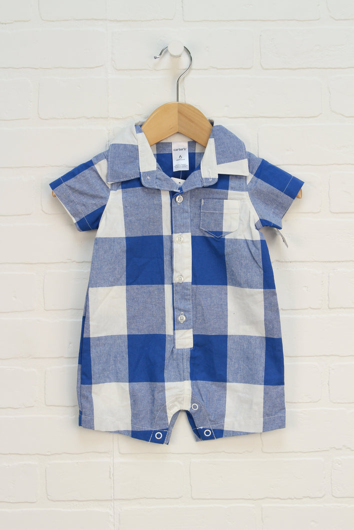 NWT Blue + White Checked Romper (Carter's Size 6M)