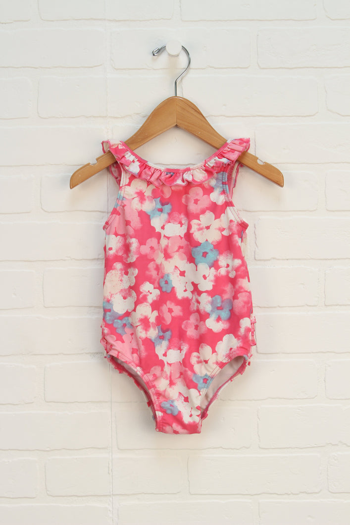 Pink + White Floral Swimsuit (Size 18-24M)