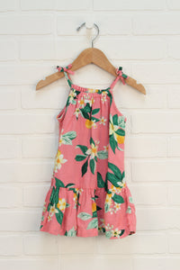 Salmon + Green Floral Sundress (Size 18-24M)