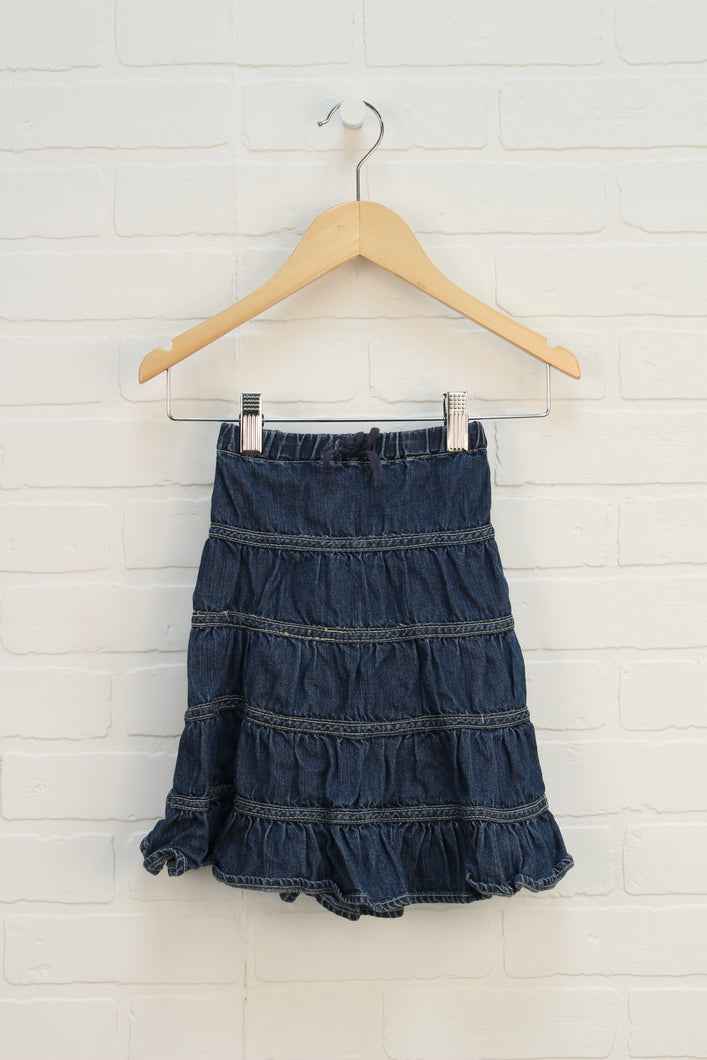 Dark Wash Denim Tiered Skirt (Size 6)