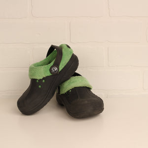 Black + Green Minky Lined Crocs (Little Kids Shoe Size 10-11)