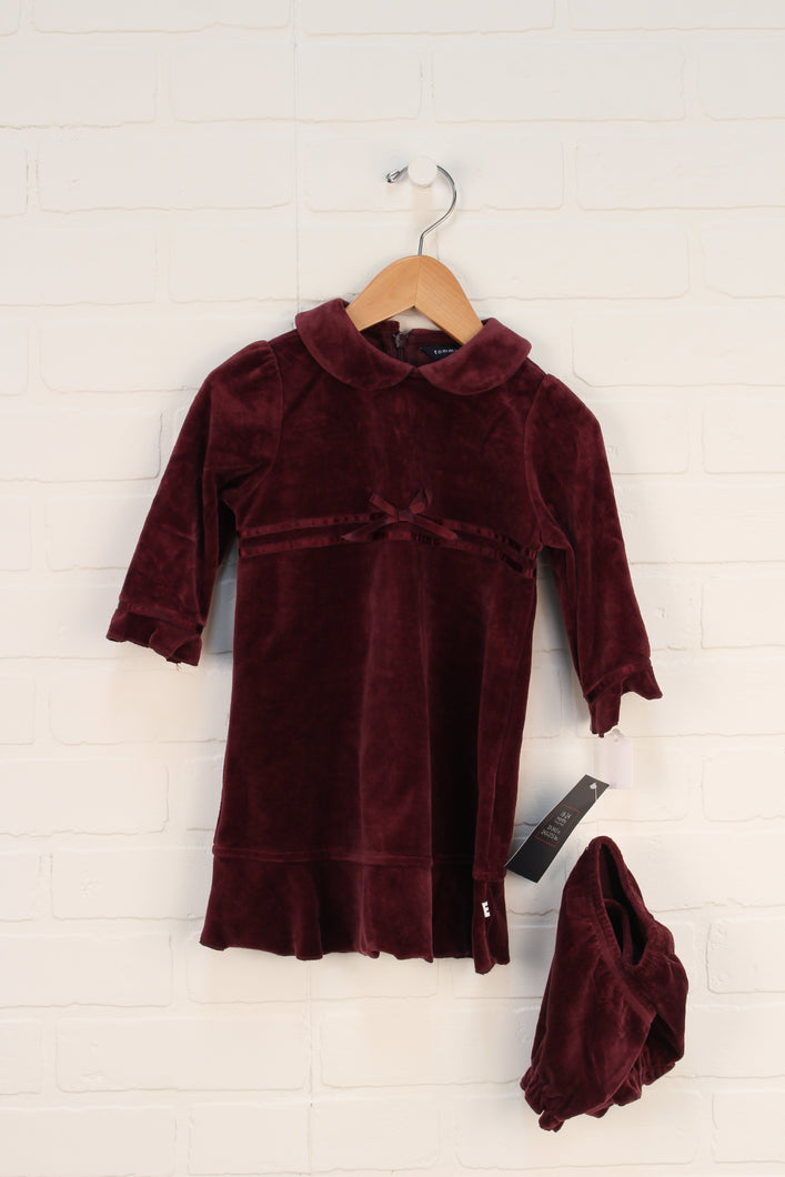NWT Burgundy Velour Dress (Size 18-24M)