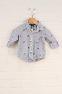 Blue + White Graphic Button-Up: Dogs (Size 3-6M)