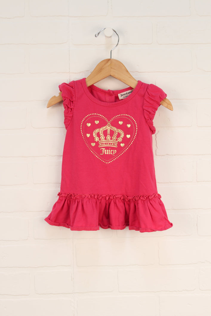 Juicy Couture Hot Pink + Gold Puff Sleeve Top (Size 24M)