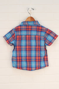 Blue + Orange Plaid Button-Up (Size 3)