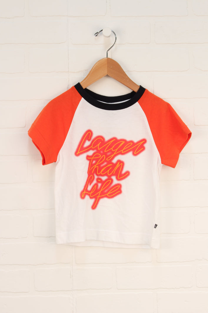 NWT White + Orange Graphic Raglan: