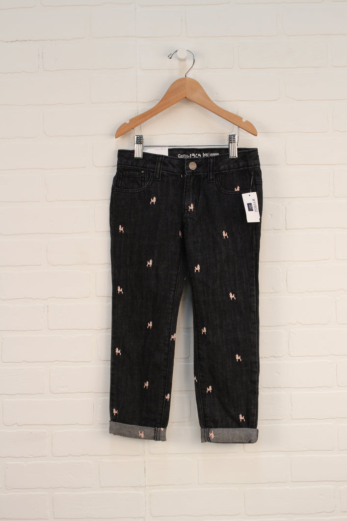 NWT Black Embroidered Jeans: Poodles (Size 5)