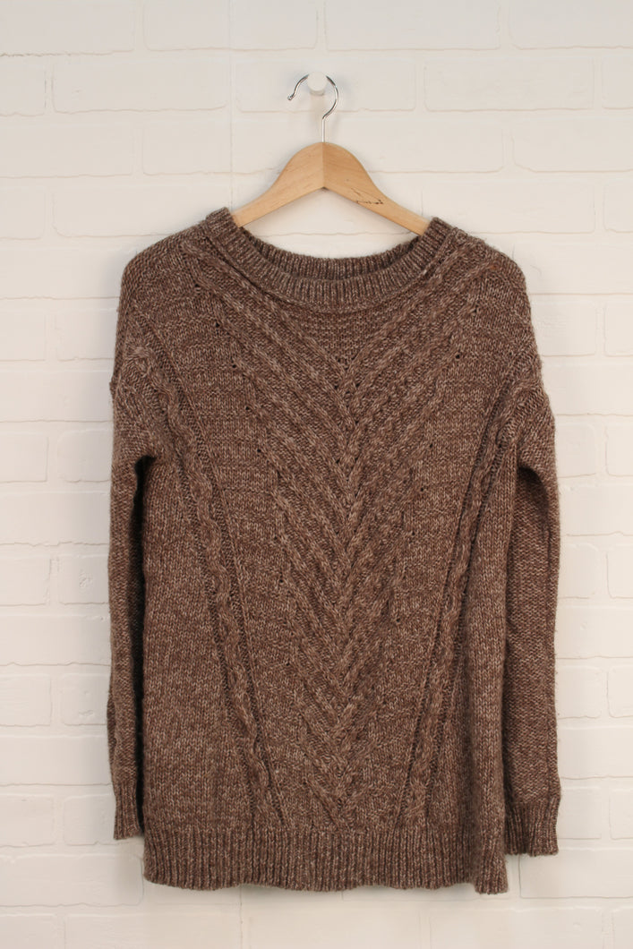Brown Wool Blend Sweater Tunic (Women's Size XS)