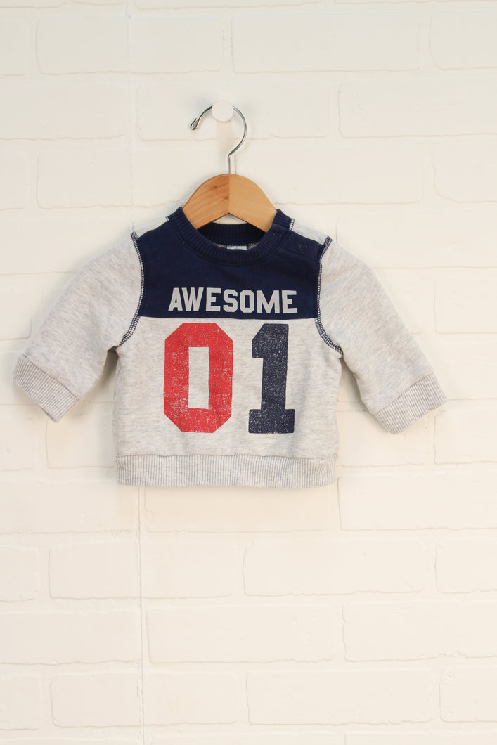 Heathered Grey + Navy Sweatshirt (Size 3-6M)