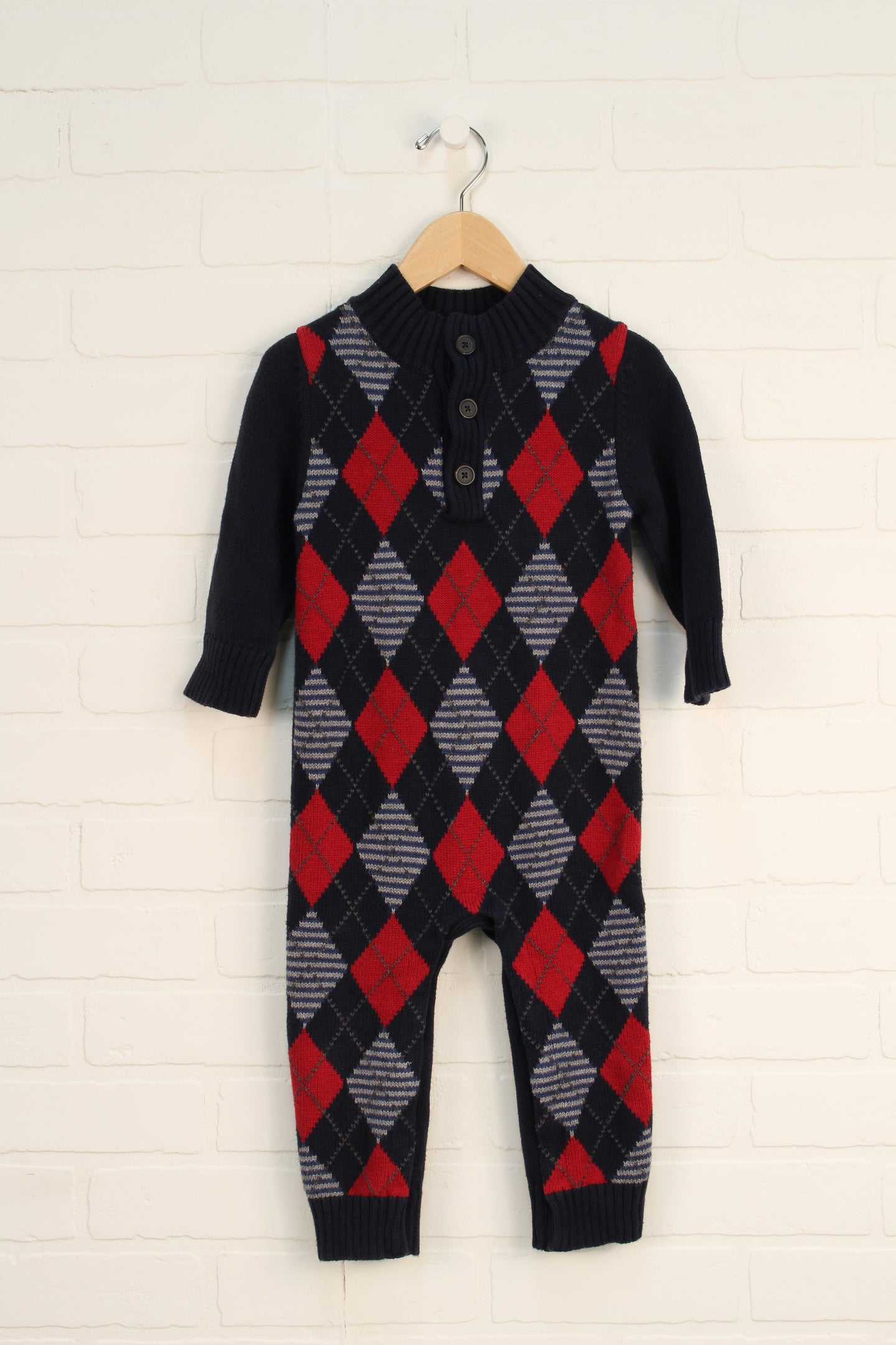 Navy + Crimson Argyle Sweater Romper (Size 18-24M)