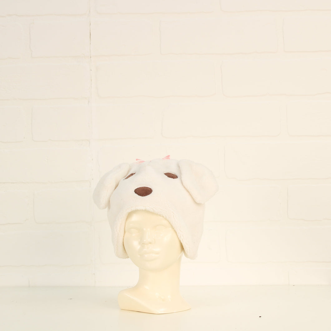 White Puppy Winter Hat (Size 0-3M)