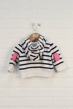 White + Navy Striped Logo Hoodie (Size 0-3M)