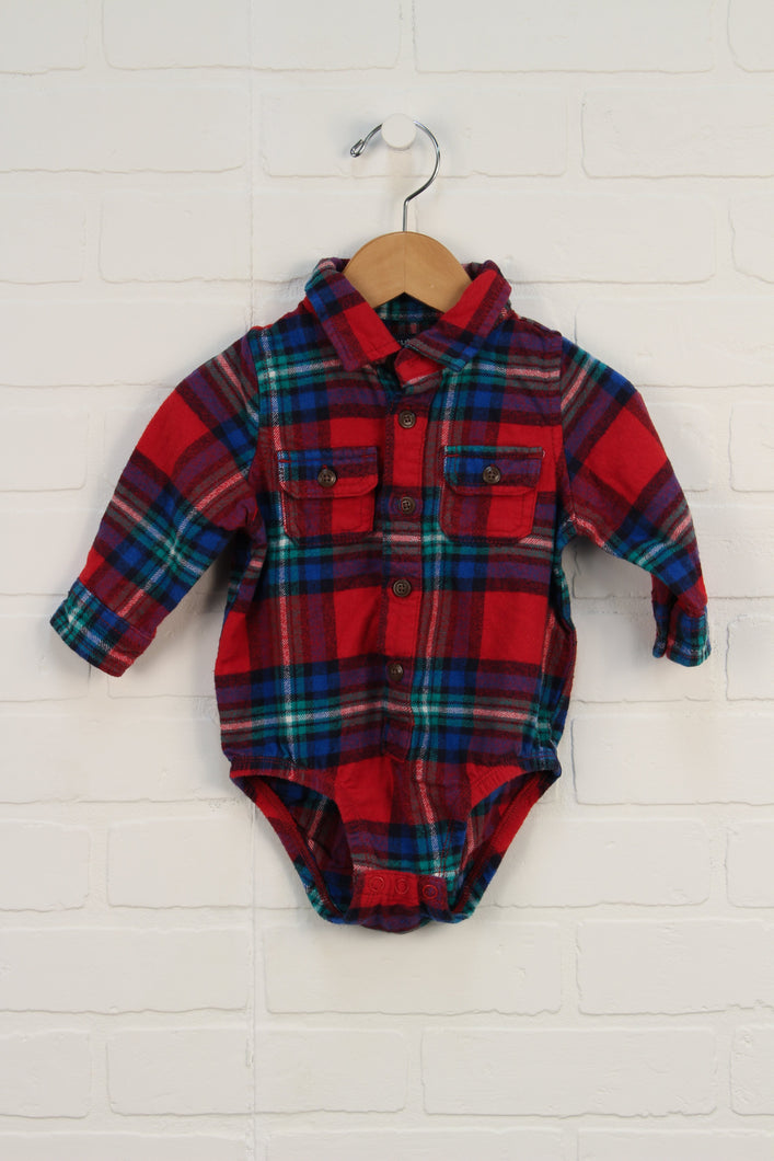 Red + Blue Plaid Flannel Onesie (Size 12M)