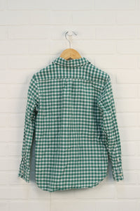 Green + White Gingham Button-Up (Size L/10)