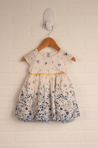 White + Blue Floral Party Dress (Size 3-6M)