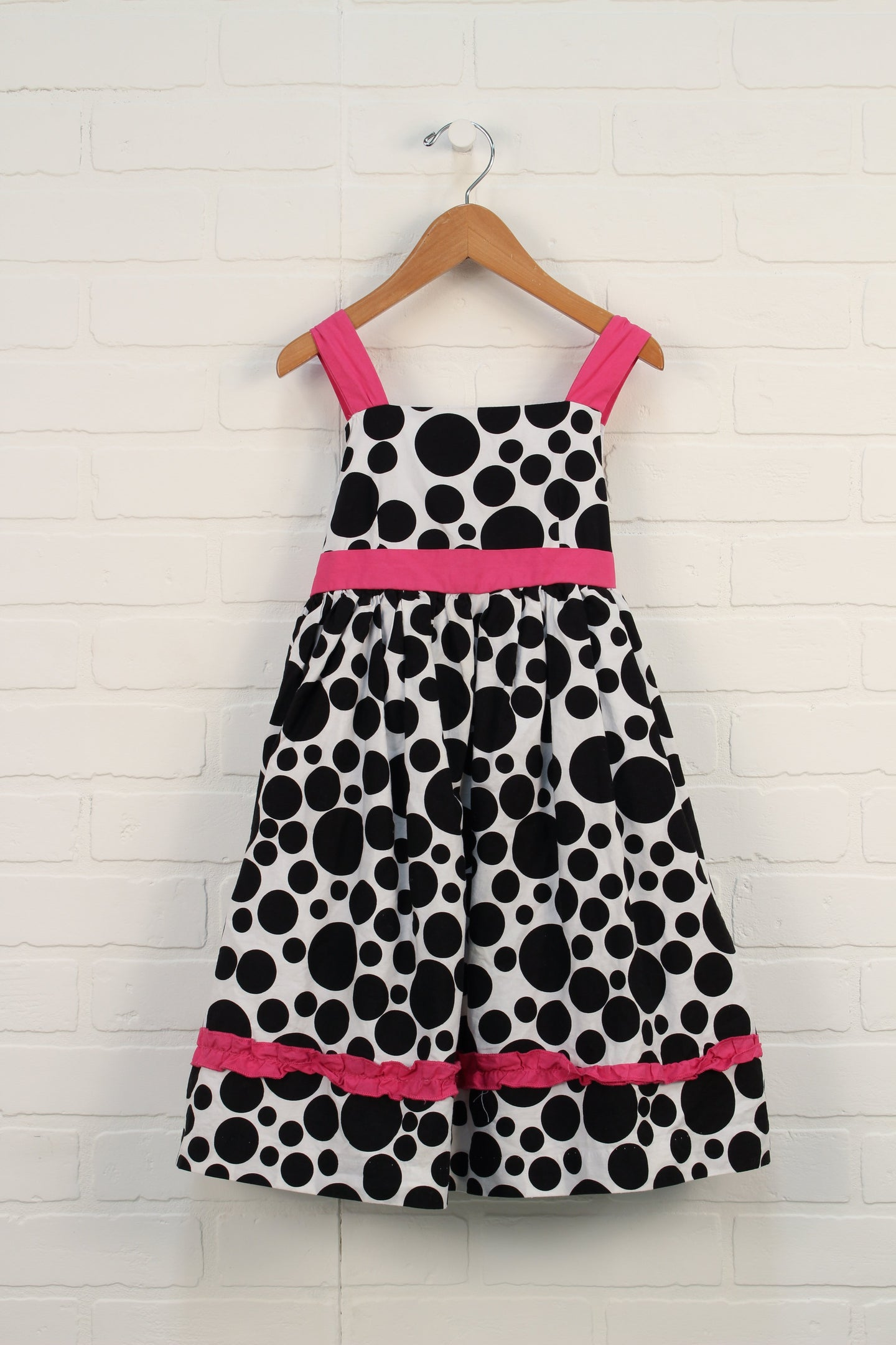 Black + White Polka Dot Party Dress (Size 110/5)