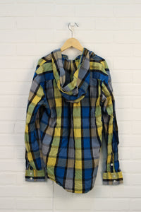 Blue + Yellow Plaid Hooded Top (Size XL/18)