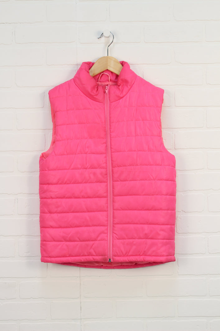 Fluorescent Pink Puffer Vest (Size 10-12)