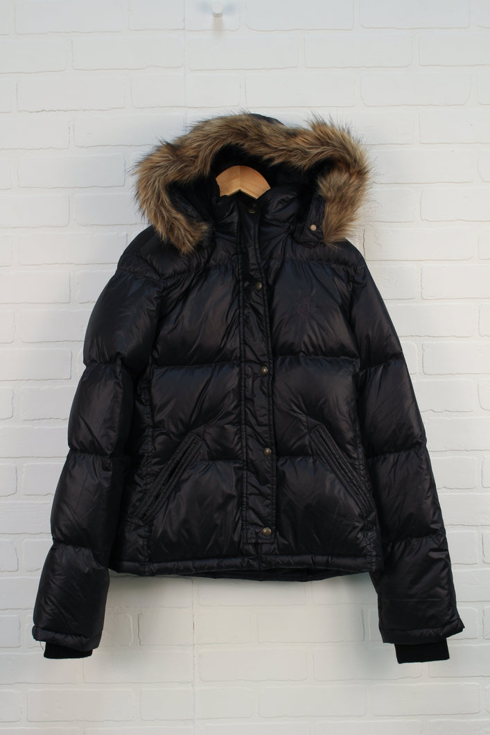 Black Hooded Puffer Coat (Size M/Estimated Size 14-16)