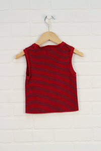 Red + Navy Sweater Vest (Size 4T)