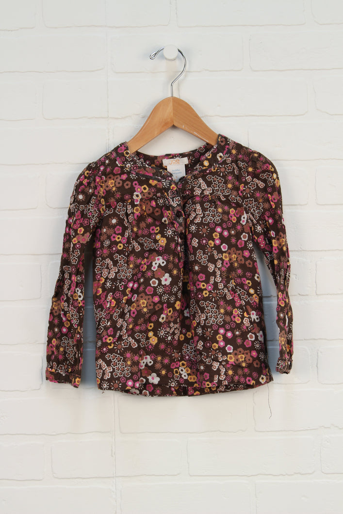 Brown + Pink Floral Blouse (Size 3)