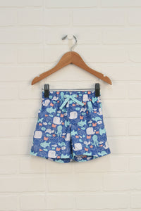 Indigo + Turquoise Graphic Swim Trunks (Size 6-12M)