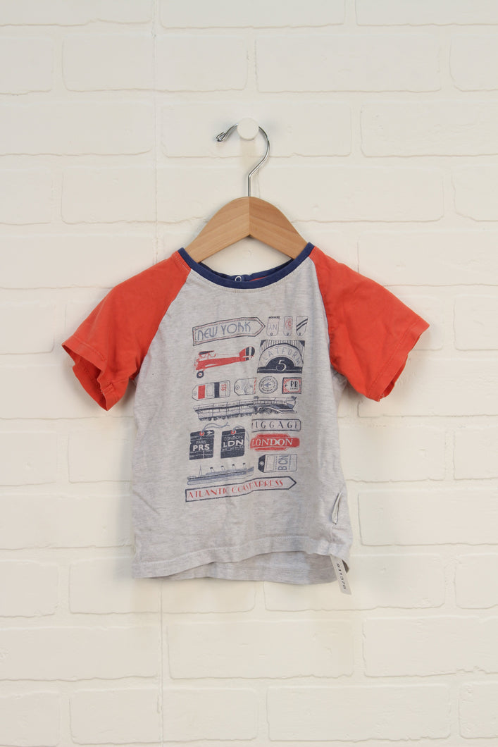 Organic Heathered Grey + Tomato Graphic T-Shirt (Size 18-24M)