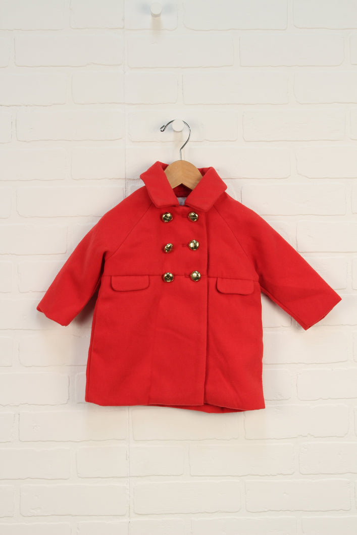 Red + Gold Double Breasted Coat (Size 12M) *STAFF PICK*