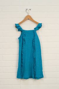 Turquoise + Black Polka Dot Dress (Size 6)